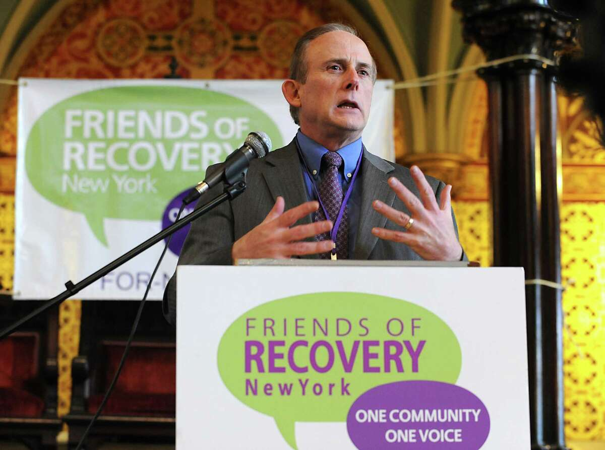 Robert Lindsey, FOR-NY CEO, speaks as friends of Recovery-NY hold a rally at Emmanuel Baptist Church before visiting lawmakers to seek funding and support for programs that help recovering addicts stay clean and sober on Tuesday, Feb. 2, 2016 in Albany, N.Y. (Lori Van Buren / Times Union)