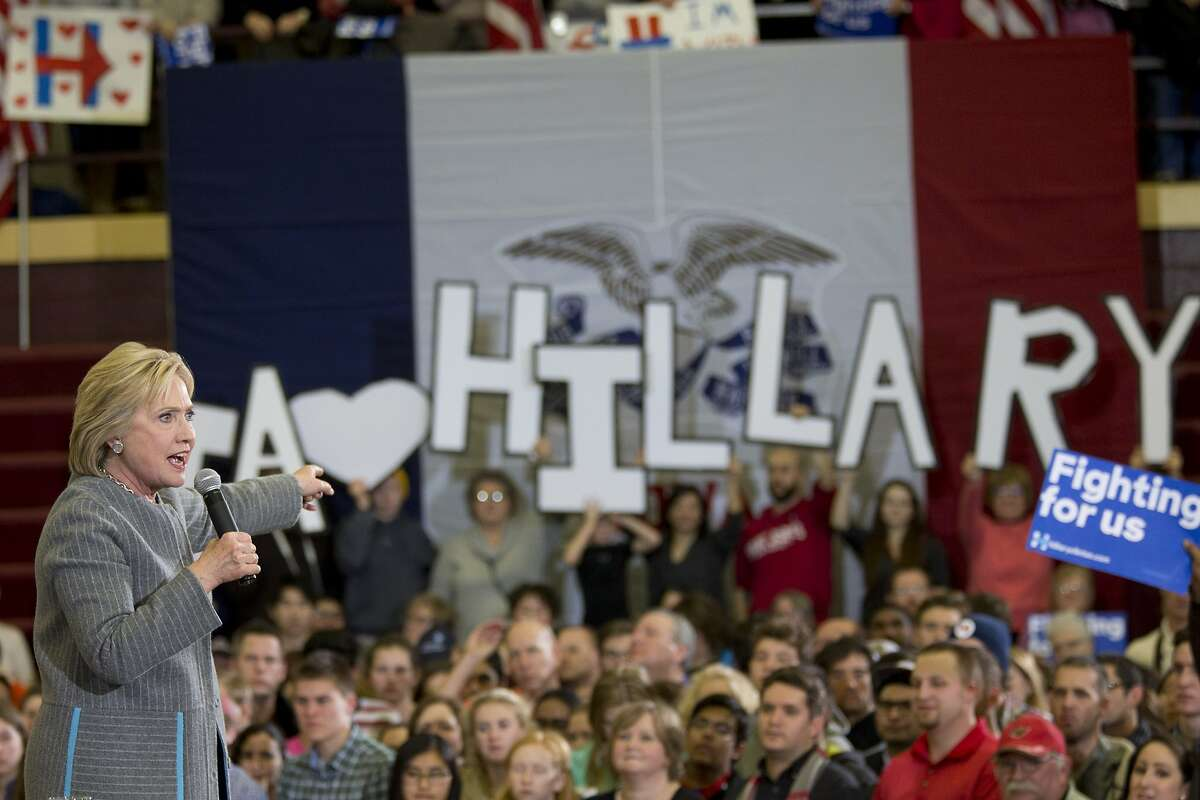Democratic presidential candidate Hillary Clinton speaks during a rally at the Abraham Lincoln High School, Sunday, Jan. 31, 2016, in Des Moines, Iowa. (AP Photo/Mary Altaffer)