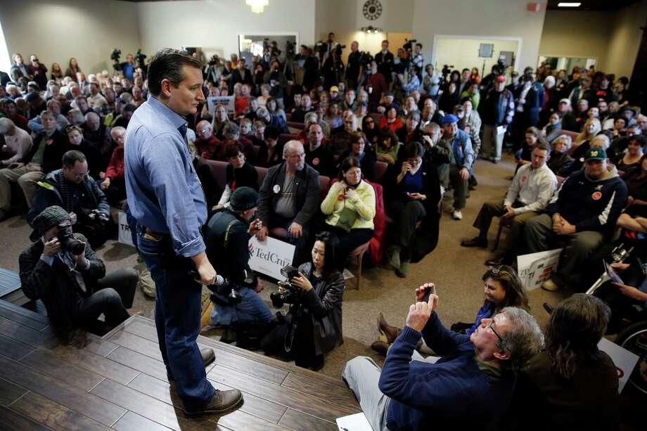 Republican presidential candidate, Sen. Ted Cruz, R-Texas, listens to a question during a campaign stop Tuesday, Feb. 2, 2016, in Windham, N.H. (AP Photo/Matt Rourke) Photo: Matt Rourke, STF / AP