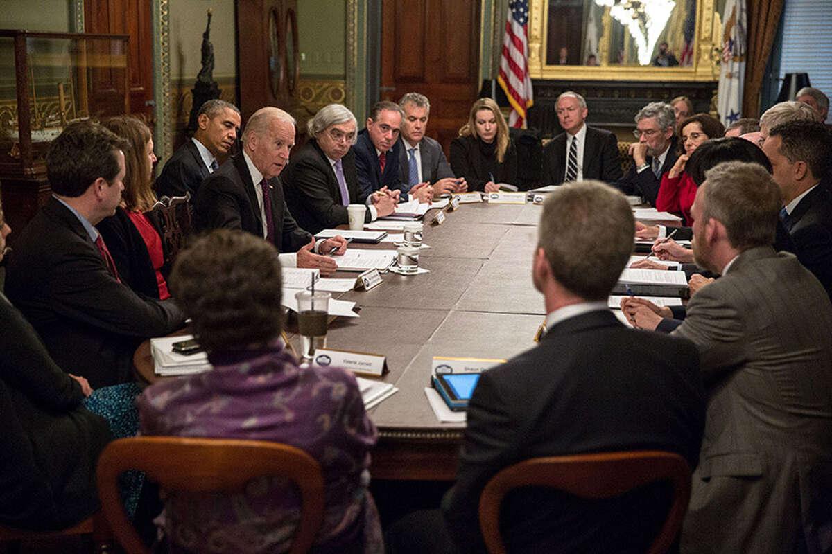 President Barack Obama and Vice President Joe Biden lead first meeting of White House Cancer Moonshot task force.