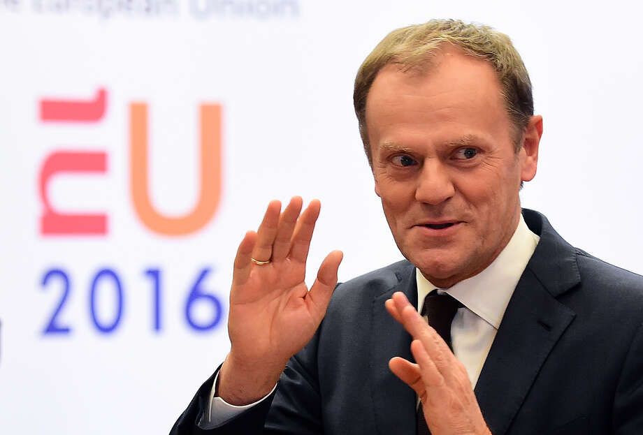 European Council President Donald Tusk gestures as he answers questions to journalists about Great Britain situation in the European Union at the European Council in Brussels on February 2, 2016.  European Union president Donald Tusk unveiled on February 2, 2016 a draft proposals to keep Britain in the 28-nation club, firing the starting gun for two weeks of tense negotiations to reach a deal at a summit later this month. / AFP / EMMANUEL DUNANDEMMANUEL DUNAND/AFP/Getty Images Photo: EMMANUEL DUNAND, Staff / AFP or licensors