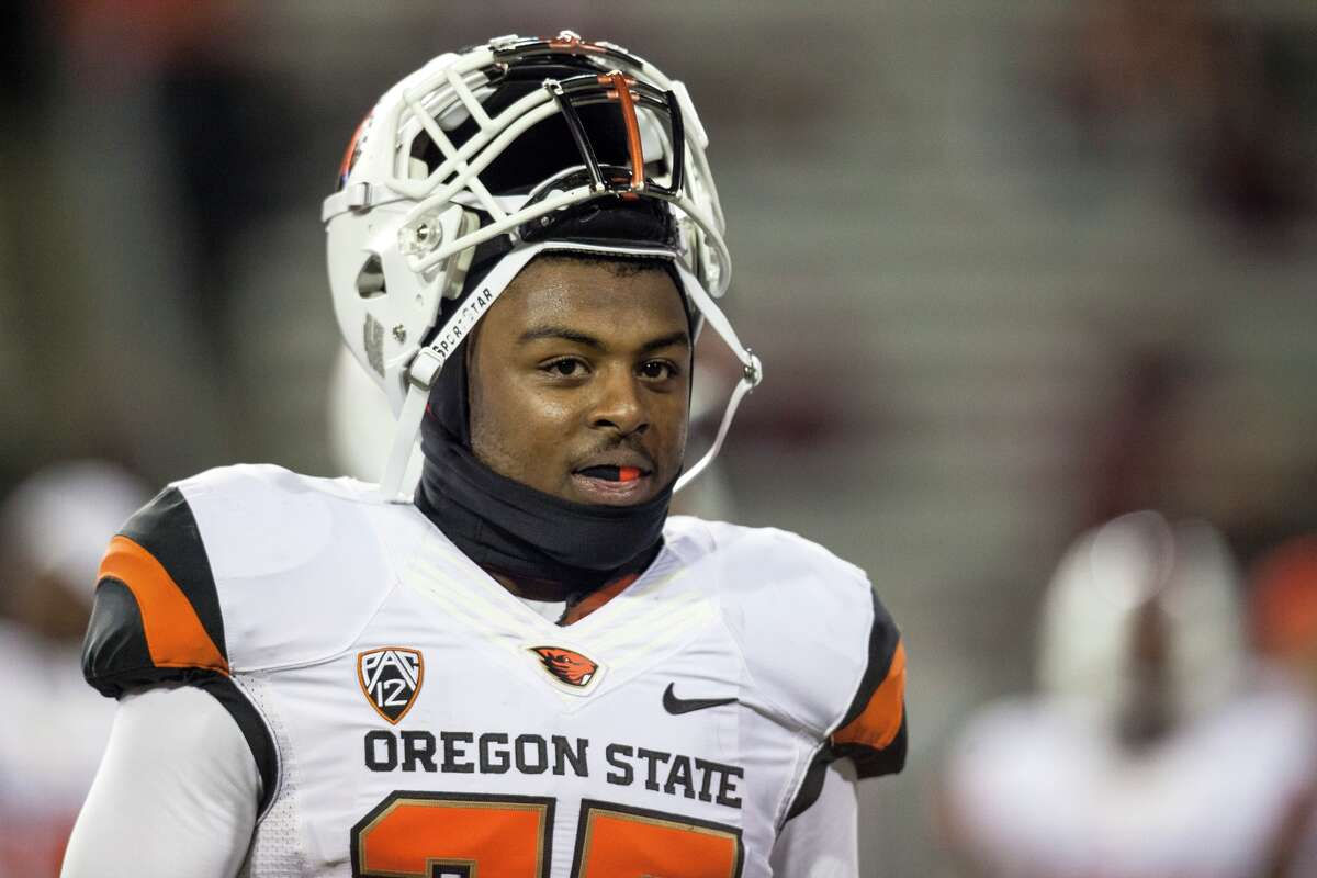 FILE - Oregon State safety Ryan Murphy (25) before the start of an NCAA college football game against Washington State on Saturday, Oct. 12, 2013, at Martin Stadium in Pullman, Wash. Oregon State won 52-24. (AP Photo/Dean Hare)