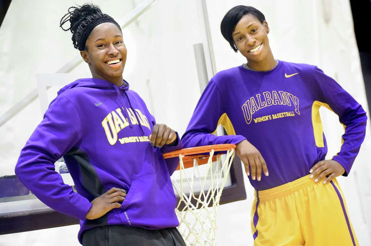 UAlbany's basketball player Shereesha Richards, left, and assistant coach Isoken Uzamere on Friday, Jan. 29, 2016, at SEFCU Arena in Albany, N.Y. (Cindy Schultz / Times Union)