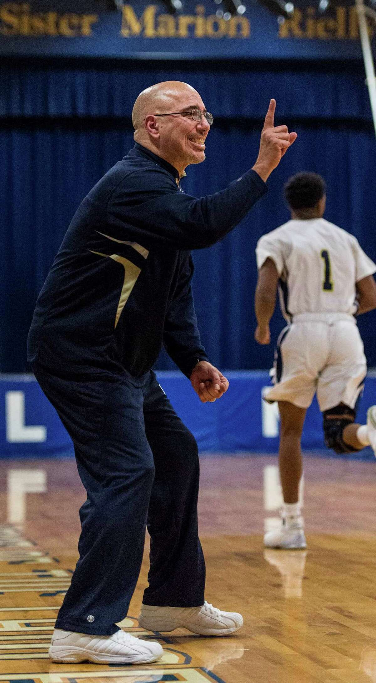 Notre Dame of Fairfield head coach Vin Laczkoski gets his 300th win as his team defeats Pomperaug High School during a boys basketball game played at Notre Dame of Fairfield, Fairfield, CT on Tuesday, February 2, 2016.