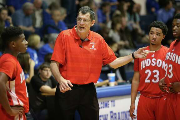 Judson coach Mike Wacker gets his team going before the start of the second half against New Braunfels on Feb. 2, 2016.