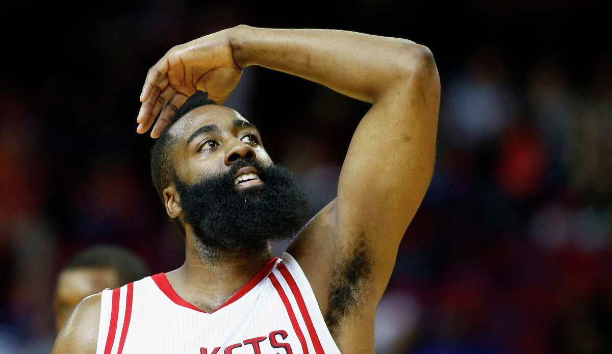 Rockets 115, Heat 102 HOUSTON, TX - FEBRUARY 02: James Harden #13 of the Houston Rockets reacts to a basket against the Miami Heat during their game at the Toyota Center on February 2, 2016 in Houston, Texas. NOTE TO USER: User expressly acknowledges and agrees that, by downloading and or using this Photograph, user is consenting to the terms and conditions of the Getty Images License Agreement.