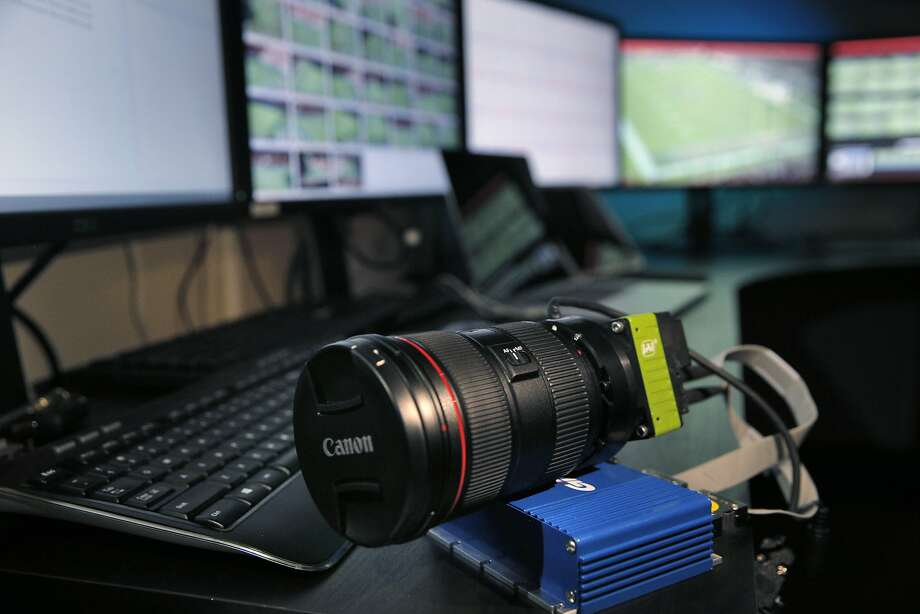 One of the FreeD 5K video sensors and mounted lens at Levi's Stadium in San Clara, Calif., on Tuesday, February 2, 2016.  The 360-degree instant replay system is provided by Replay Technologies, which calls its FreeD technology a precursor to virtual reality replays. The company has installed 36 5K video sensors around the 500 and 600 levels of Levi's Stadiumand the system allows instant replay to start from one angle, stop and then completely rotate to another side, as all video sensors capture in a synchronized fashion. Photo: Carlos Avila Gonzalez, The Chronicle