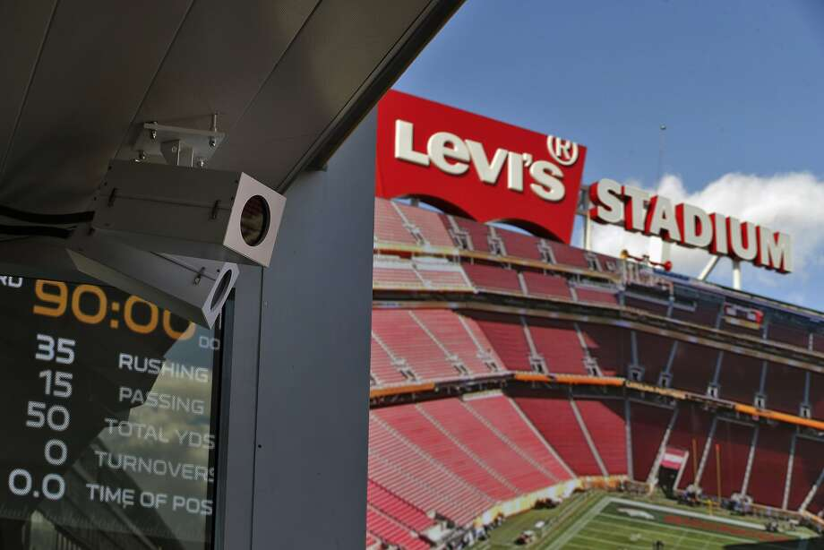 One of the 5K video sensors installed for the FreeD replay system at Levi's Stadium in San Clara, Calif., on Tuesday, February 2, 2016.  The 360-degree instant replay system in use at Levi's is provided by Replay Technologies, which the company calls its FreeD technology a precursor to virtual reality replays. The company has installed 36 5K video sensors around the 500 and 600 levels of Levi's Stadium, and the system allows instant replay to start from one angle, stop, and then completely rotate to another side, as all video sensors capture in a synchronized fashion. Photo: Carlos Avila Gonzalez, The Chronicle