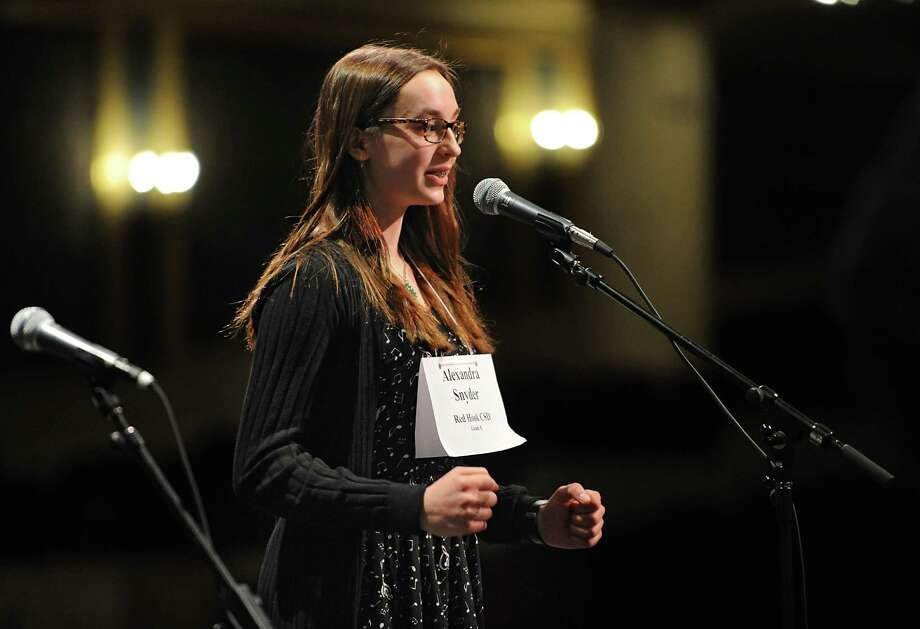 "Red Hook eighth grader Alexandra Snyder successfully spells the word ""validity"" to win the 34th Annual Capital Region Spelling Bee on Tuesday, Feb. 2, 2016 in Schenectady, N.Y.  (Lori Van Buren / Times Union) Photo: Lori Van Buren / 10034893A"