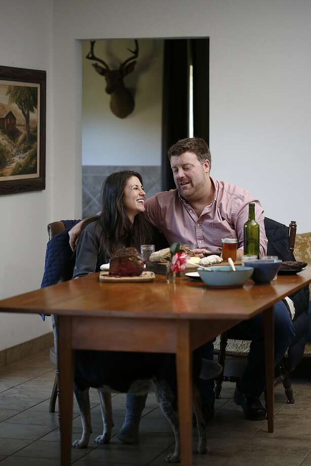 Claire Herminjard of Mindful Meats and rancher-owner David Evans of Marin Sun Farms  have lunch at home in Inverness, California, on Monday,  February 1, 2016. Photo: Liz Hafalia, The Chronicle