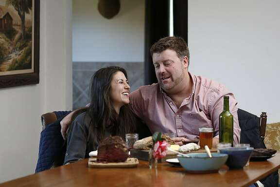 Claire Herminjard of Mindful Meats and rancher-owner David Evans of Marin Sun Farms  have lunch at home in Inverness, California, on Monday,  February 1, 2016.