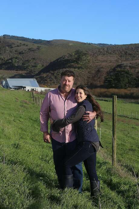Claire Herminjard of Mindful Meats and rancher-owner David Evans of Marin Sun Farms have known each other for five years and have been a couple for a year in Inverness, California, on Monday,  February 1, 2016. Photo: Liz Hafalia, The Chronicle