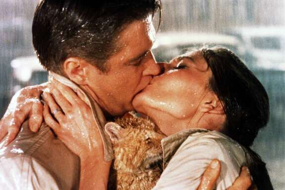 """George Peppard and Audrey Hepburn star in """"Breakfast at Tiffany's."""""""