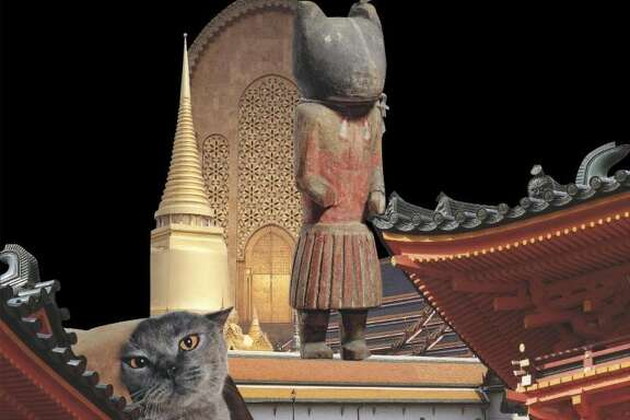 """""""Feline Shrine"""" is among works on view in """"Ann Harithas: The Domain of Images"""" at Houston Baptist University's Contemporary Gallery through March 4."""