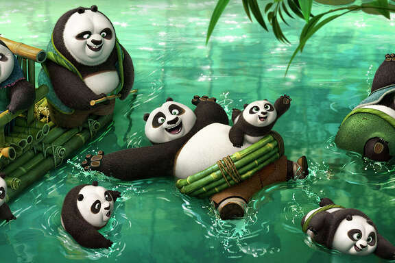"""Po (voiced by Jack Black) frolicking in the panda village's hot spring in """"Kung Fu Panda 3."""" MUST CREDIT: DreamWorks Animation"""