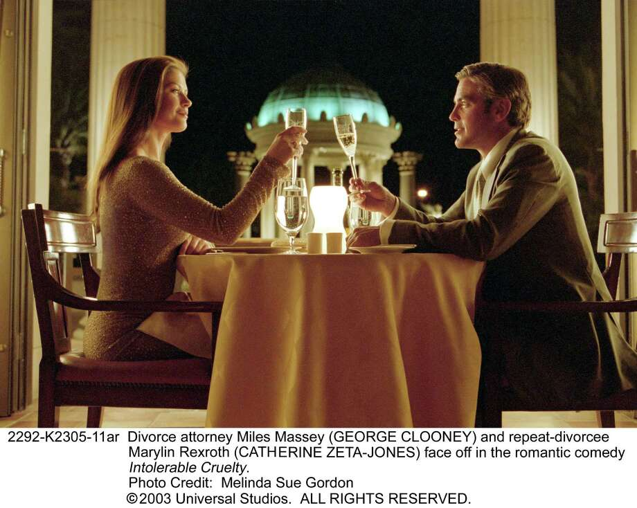 "Catherine Zeta-Jones and George Clooney star in ""Intolerable Cruelty."" Photo: Melinda Sue Gordon"