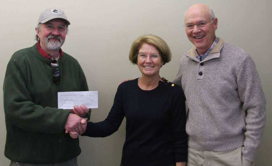 The Lake Waramaug Task Force has been awarded a $7,500 grant by the Ellen Knowles Harcourt Foundation based in New Milford. The funds will support the task forceâÄôs plan to stimulate the growth of zooplankton in Lake Waramaug. Above, Bob Nicholas, president of the foundation, left, presents the check to Molly Butler, chairwoman off the task force, and Tom McGowan, executive director of the task force. Photo: Courtesy Of The Lake Waramaug Task Force / The News-Times Contributed