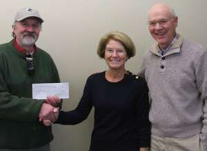 The Lake Waramaug Task Force has been awarded a $7,500 grant by the Ellen Knowles Harcourt Foundation based in New Milford. The funds will support the task forceâÄôs plan to stimulate the growth of zooplankton in Lake Waramaug. Above, Bob Nicholas, president of the foundation, left, presents the check to Molly Butler, chairwoman off the task force, and Tom McGowan, executive director of the task force.