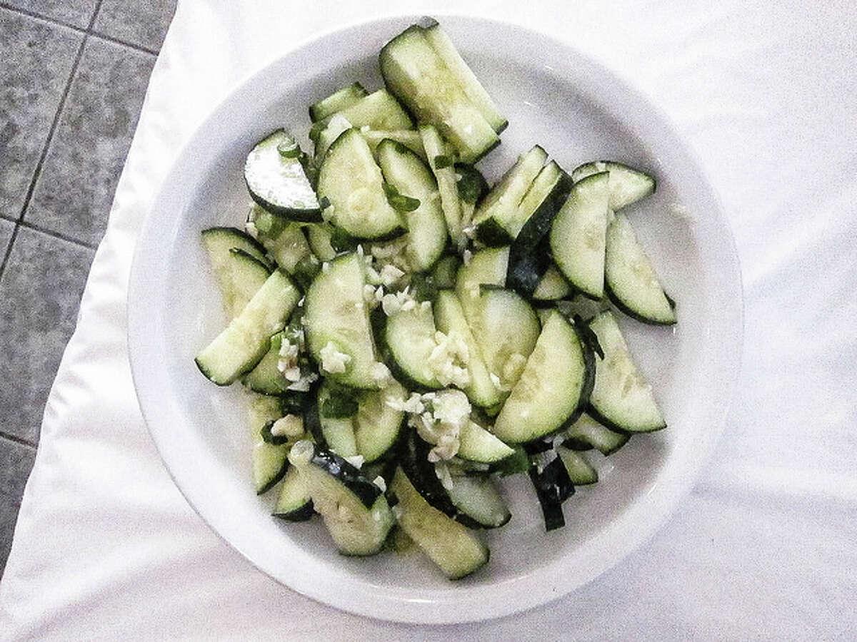 Garlic cucumbers at Uyghur Bistro.