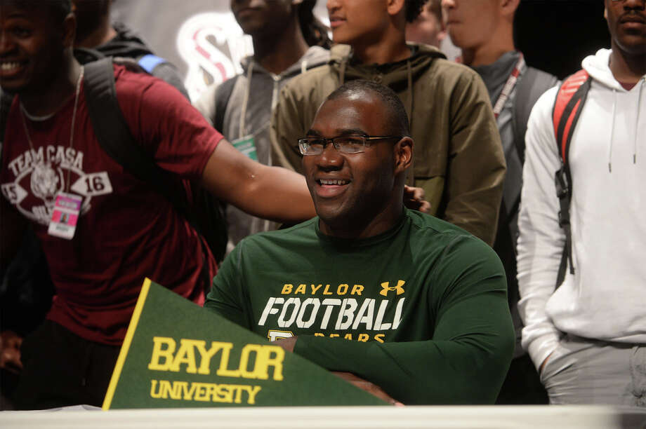 Silsbee's Patrick Hudson announces his decision to attend Baylor University during a special program at the school on Wednesday.  