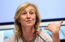 Isabelle Falque-Pierrotin the WP29's Chairwoman, a group including the data protection agencies of the 28 member states, speaks during a press conference on the evolutions of an EU-US agreement to allow data flows between the two continents on February 3, 2016 in Brussels. The US and the EU reached an agreement on February 2, 2016, the EU-US Privacy Shield, replacing the Safe Harbor Framework to allow data flows across the Atlantic to continue without breaking the european law. / AFP / EMMANUEL DUNANDEMMANUEL DUNAND/AFP/Getty Images