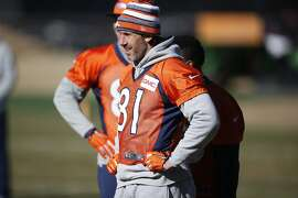 Denver Broncos tight end Owen Daniels looks on during an NFL football practice at the team's headquarters Thursday, Jan. 28, 2016, in Englewood, Colo. The Broncos are preparing to face the Carolina Panthers in the Super Bowl. (AP Photo/David Zalubowski)