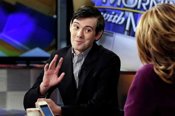 Former Turing Pharmaceuticals CEO Martin Shkreli is interviewed by host Maria Bartiromo on the Fox Business Network on Tuesday. Shkreli was subpoenaed to appear at a congressional hearing on drug prices, but he has said he plans to invoke the Fifth Amendment