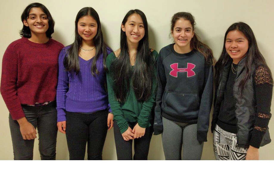 The GHS debate team, competing in the IPPF competition, include 10th-graders from left Shobhita Sundaram, Michelle Woo, Sarah Xu, Emily Philippides and Michelle Xiong. Photo: Contributed / Contributed Photo / Greenwich Time Contributed