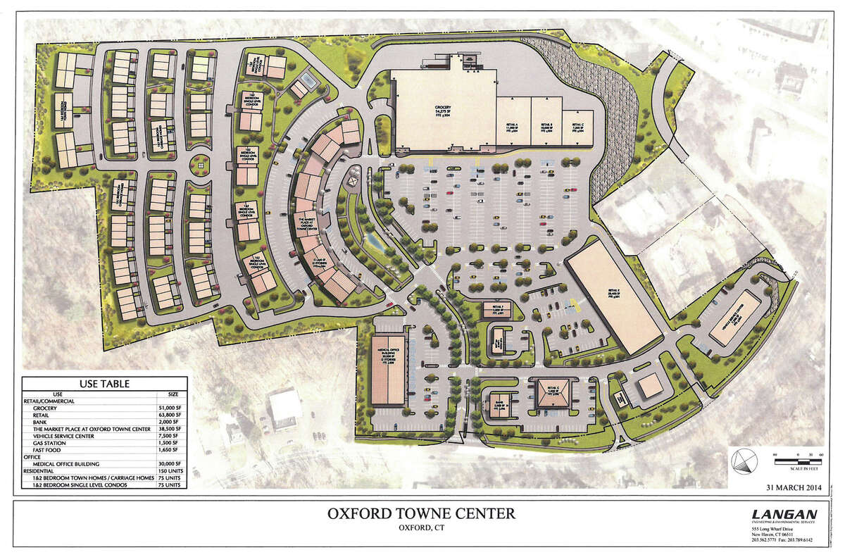An artist's rendering of the proposed Oxford Towne Center, in Oxford, with the grocery store to occupy the large space at the rear of the development.