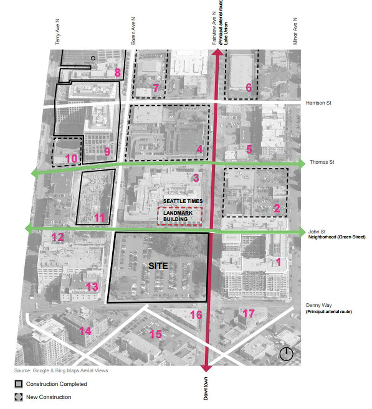 This map shows the location of the proposed two-tower project, a space which is now a parking lot across from the Seattle Times and 13 Coins retaurant.