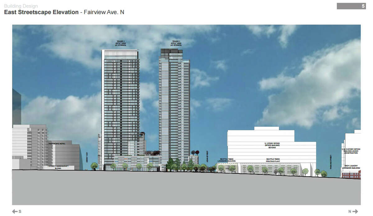 These renderings show profile views of the proposed two-tower project.