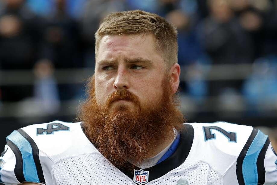 The Carolina Panthers' Mike Remmers (74) on the sidelines during the first half of an NFL divisional playoff football game against the Seattle Seahawks, Sunday, Jan. 17, 2016, in Charlotte, N.C. The Panthers won 31-24. (AP Photo/Bob Leverone) Photo: Bob Leverone, Associated Press
