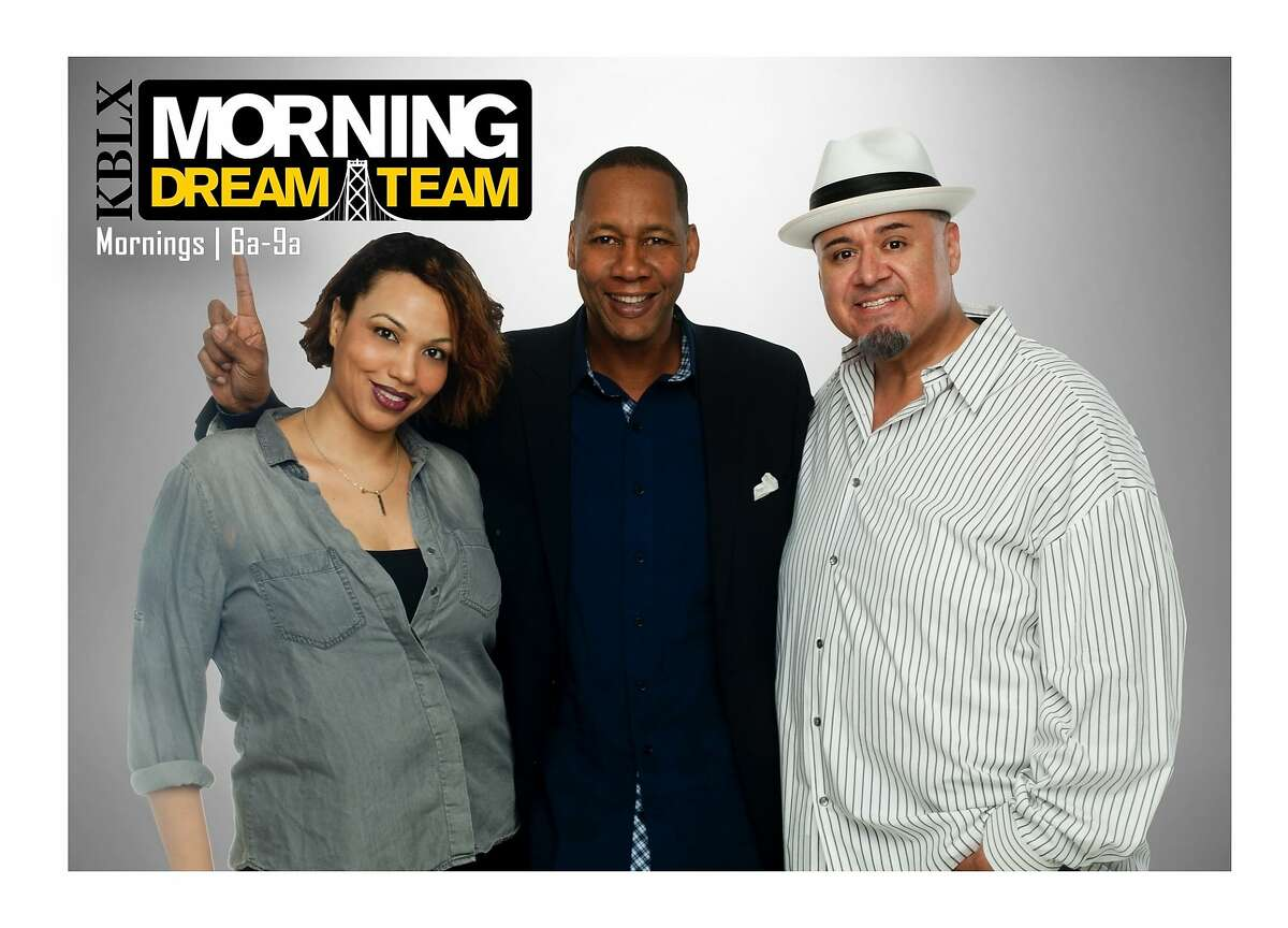 A file photo of Kimmie Taylor, Mark Curry and Victor Zaragoza, then of KBLX radio.