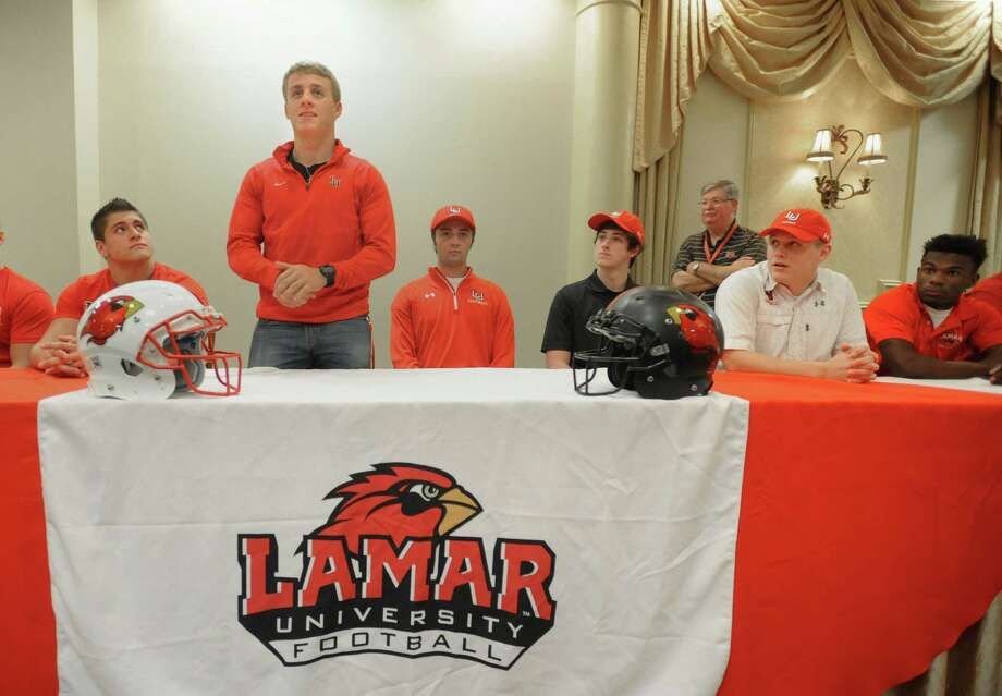 Austin Krautz introduces himself during an event for Lamar's new football recruits at the Elegante on Wednesday. Krautz will be joining the Cardinal's team from Nederland.   Photo taken Wednesday, February 03, 2016 Guiseppe Barranco/The Enterprise Photo: Guiseppe Barranco, Photo Editor
