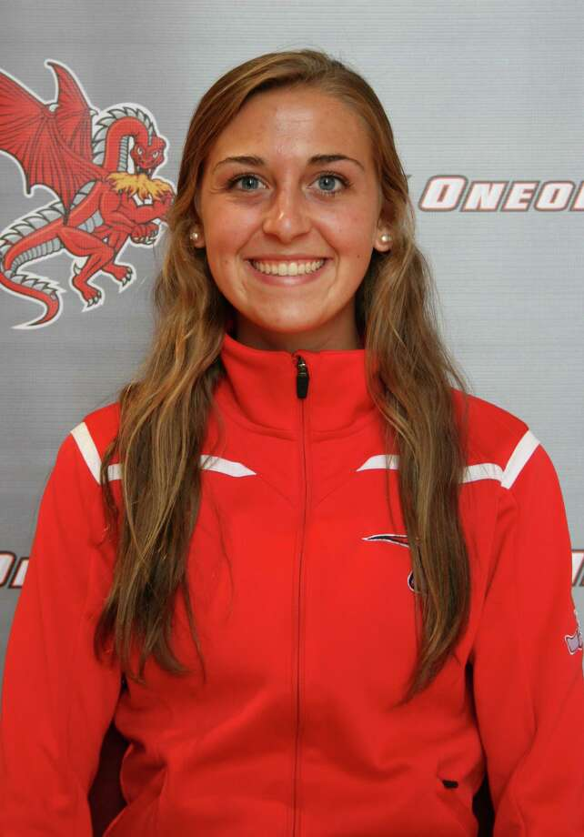 Shenendehowa graduate Rachael Shine of the Oneonta indoor track team. (Oneonta sports information)