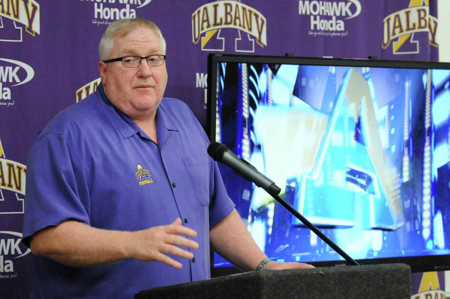 Head coach Greg Gattuso speaks as UAlbany football announced its newly signed recruits for next season on Wednesday Feb. 3, 2016 in Albany, N.Y.  (Michael P. Farrell/Times Union) Photo: Michael P. Farrell / 10035245A