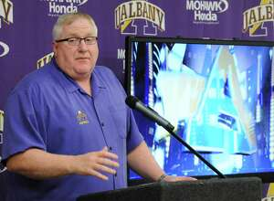 Head coach Greg Gattuso speaks as UAlbany football announced its newly signed recruits for next season on Wednesday Feb. 3, 2016 in Albany, N.Y.  (Michael P. Farrell/Times Union)