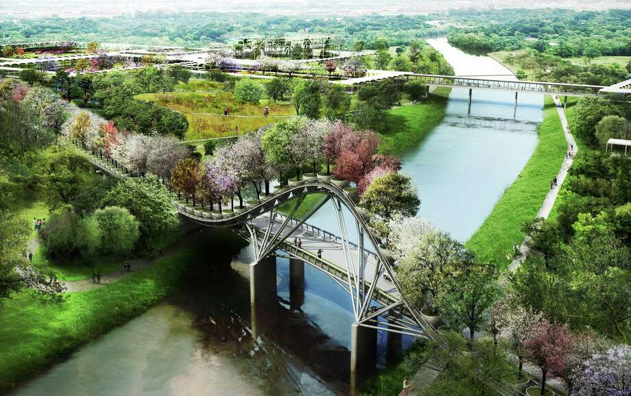 The proposed Houston Botanic Garden will have an iconic bridge visible from I-45. In this sketch, dozens of potted trees atop the bridge offer visual drama. Photo: West 8
