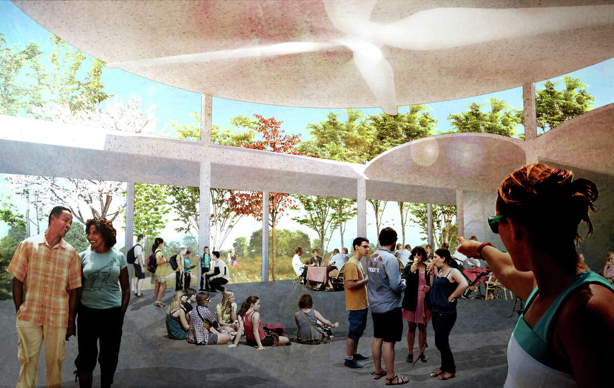 Custom ceiling fans will be integrated into colonnades in the proposed Houston Botanic Garden, offering visitors a cooling breeze for year-round comfort. year-round comfort.