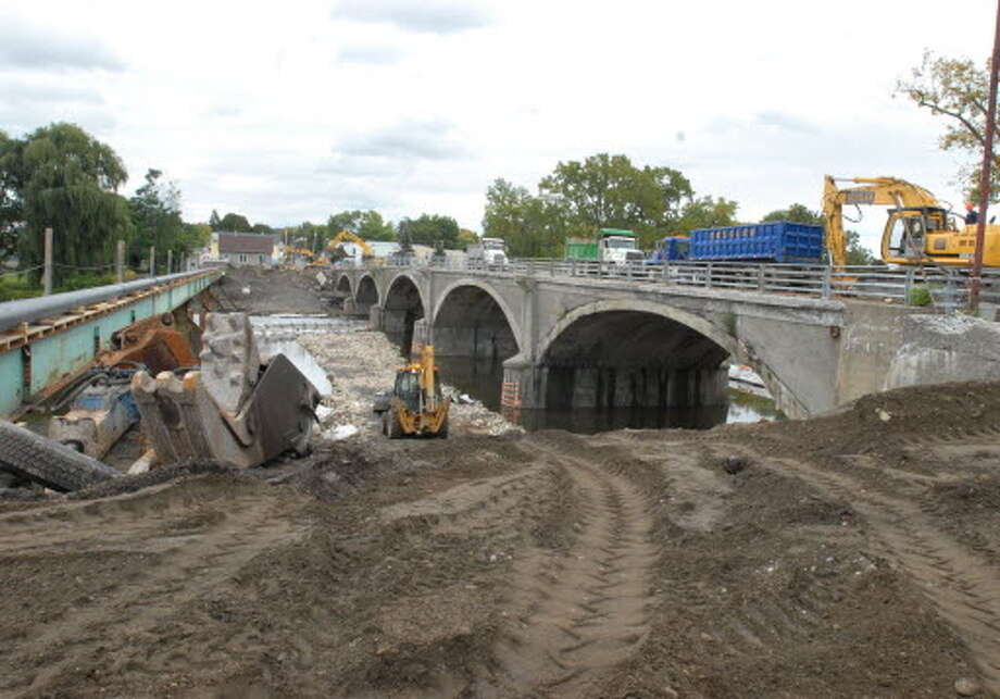 Demolition of Bridge Avenue Bridge over the Mohawk River in Cohoes as seen Oct. 1, 2009. (Lori Van Buren  Times Union)