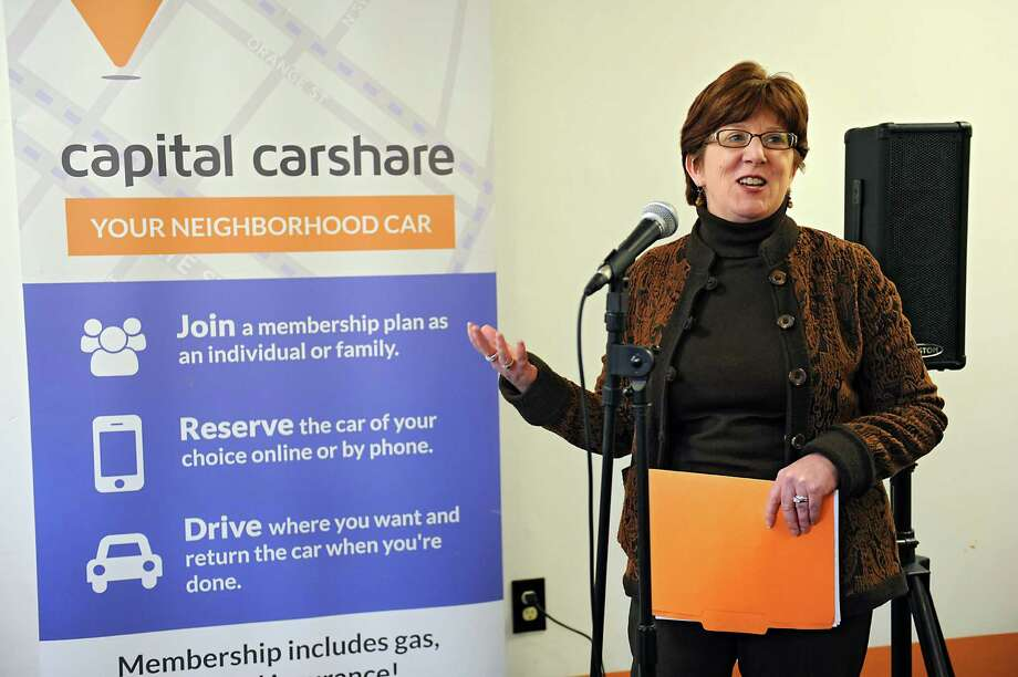 Albany Mayor Kathy Sheehan speaks at Capital CarShare during a ribbon cutting event at the new office at 194 Lark St. on Friday, Jan. 15, 2016 in Albany, N.Y. The non-profit car share organization provides affordable and sustainable neighborhood transportation. (Lori Van Buren / Times Union) Photo: Lori Van Buren / 10035005A