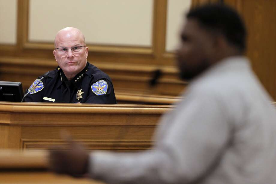 San Francisco Police Chief Greg Suhr listens to Deanthony Jones of Mo' Magic offer suggestions for better community outreach by SFPD  during the San Francisco Police Commission meeting at City Hall in San Francisco, Calif., on Wednesday, February 3, 2016. Photo: Carlos Avila Gonzalez, The Chronicle