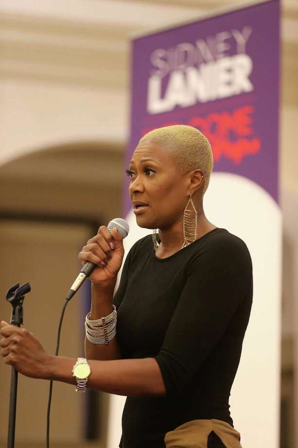 District Five Trustee Jolanda Jones addresses attendees of a town hall meeting at Sidney Lanier Middle School in Houston to discuss changing the name on Wednesday, Feb. 3, 2016. Photo: Elizabeth Conley, Houston Chronicle / © 2016 Houston Chronicle