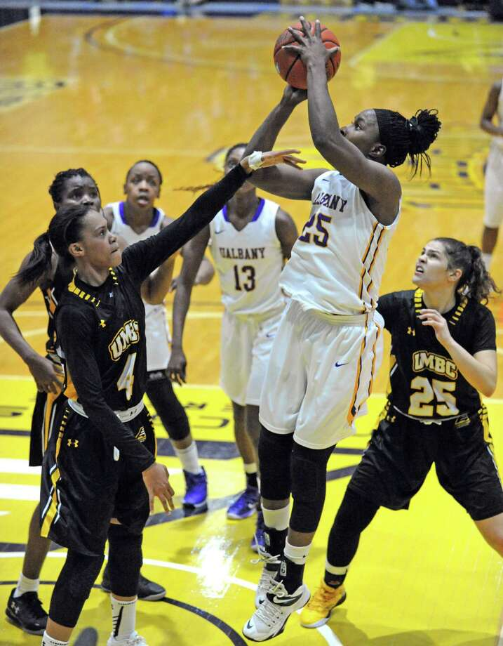 UAlbany's Shereesha Richards goes up for a score during their women's college basketball game against UMBC at SEFCU Arena on Wednesday Feb. 3, 2016 in Albany, N.Y.  (Michael P. Farrell/Times Union) Photo: Michael P. Farrell / 10035235A