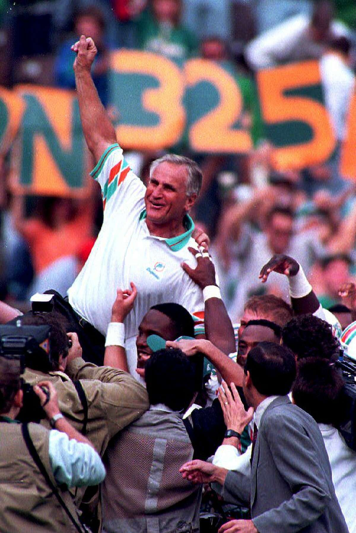 50. Shula wins - and loses: Miami's finishes an unprecedented 17-0 season with an impressive victory over Washington in Super Bowl VI. But as the veteran coach was carried off the field, a thief attempted to steal his watch. Not surprisingly, the one-time former Cleveland defensive back chased down the thief and retrieved his lost item.