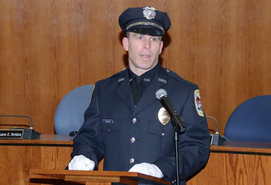 Officer Roger Hancock was promoted to detective during a swearing-in ceremony Wednesday at the Danbury City Hall. Photo: Contributed