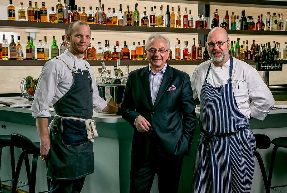 Left to right; Chef de Cuisine Keven Wilson, Umberto Giben and Chef Staffan Terje at Volta. Photo: John Storey, Special To The Chronicle