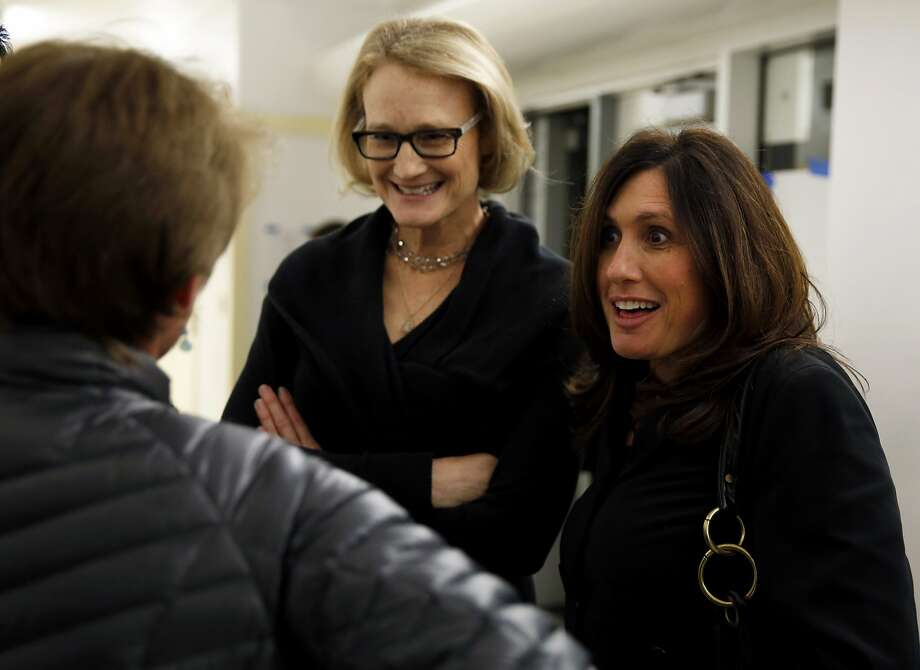 """Producers Karin Gornick (center) and Lisa Tabb talk with attendees before their documentary """"Screenagers"""" played at Sir Francis Drake High School in San Anselmo, California, on Wednesday, Feb. 3, 2016. Photo: Connor Radnovich, The Chronicle"""