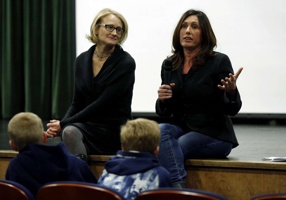 """Producers Karin Gornick (left) and Lisa Tabb hold a Q&A session with the audience after a viewing their documentary """"Screenagers"""" at Sir Francis Drake High School in San Anselmo, California, on Wednesday, Feb. 3, 2016."""
