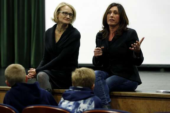 "Producers Karin Gornick (left) and Lisa Tabb hold a Q&A session with the audience after a viewing their documentary ""Screenagers"" at Sir Francis Drake High School in San Anselmo, California, on Wednesday, Feb. 3, 2016."